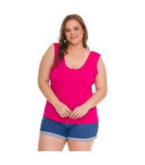 regata basica plus size lisa pink