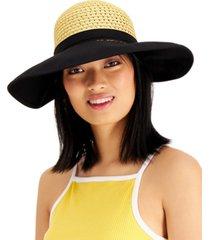 calvin klein vented canvas-brim straw hat