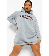 plus california sweatshirt jurk met capuchon, grijs