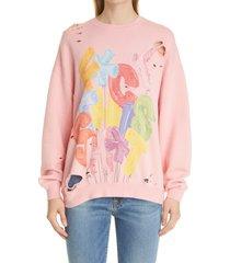 women's r13 oversize f*ck this sh*t sweatshirt, size x-small - pink