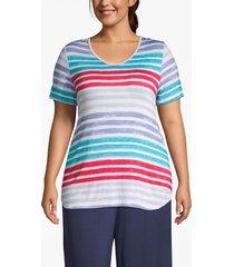 lane bryant women's active strappy-back striped tee 26/28 soft stripe