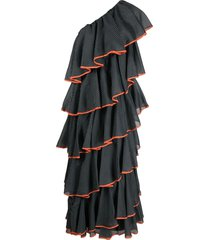 a.n.g.e.l.o. vintage cult 1970s polka dot ruffled dress - black