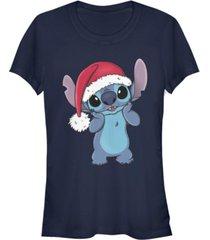 fifth sun women's disney stitch wearing santa hat short sleeve t-shirt