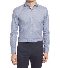 boss jason slim fit plaid dress shirt, size 16 in navy at nordstrom