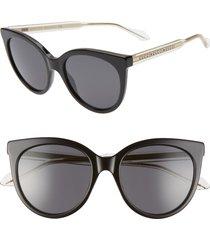 women's gucci 54mm cat eye sunglasses - black/ grey solid