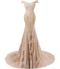 women's mermaid lace prom dress off the shoulder, formal evening dress champagne