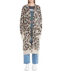 women's r13 long leopard cashmere cardigan