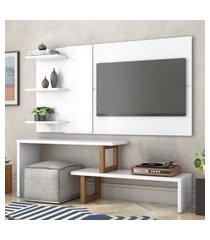 painel e rack para tv atreus branco amêndoa casah