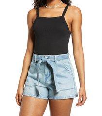 women's bp. picot trim cotton blend rib bodysuit, size x-large - black