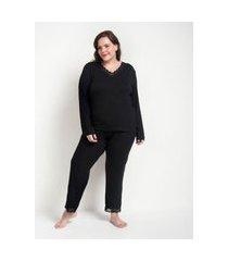 conjunto de pijama manga longa e calça com detalhes em renda curve e plus size preto