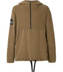 osklen logo patch zip-up hoodie - neutrals
