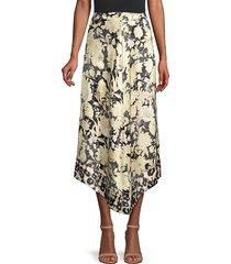 rebecca taylor women's gold leaf floral silk midi skirt - beige combo - size 6