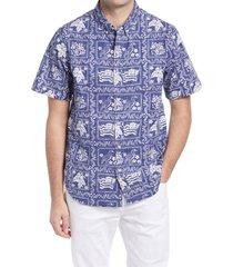 men's reyn spooner lahaina sailor regular fit popover shirt, size large - blue