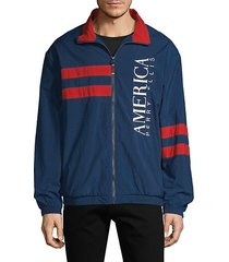 america embroidered striped track jacket