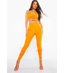 geribbelde leggings met string detail en ruches, orange