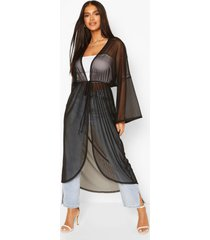 flared sleeve mesh kimono, black