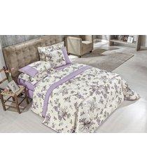 cobre leito aruba queen 03 peças - lilás bordados ricardo