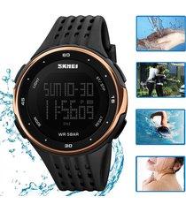 reloj contra agua unisexo skmei mujer digital deportivo (dorado rosa)