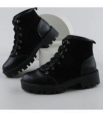 bota coturno flat feminino moleca preto