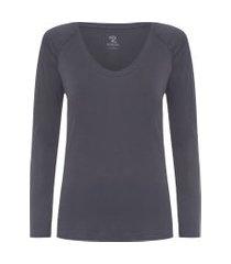 t-shirt feminina pima berlim raglan gola u manga longa - cinza