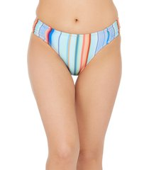 women's la blanca sunset side shirred hipster bikini bottoms, size 16 - blue/green