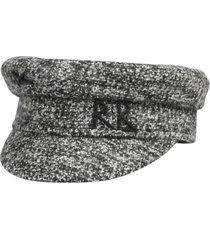 ruslan baginskiy monogram embroidered tweed baker boy hat