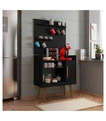 aparador cantinho do café plus 1 porta 3 prateleiras móveis bechara preto