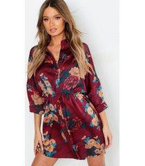luxe bloemenprint blouse jurk, berry
