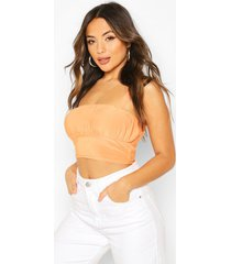 petite ruched front cami crop top, orange