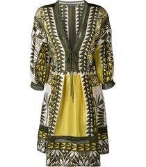 alberta ferretti geometric pattern tunic dress - green