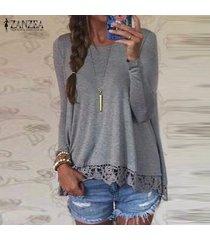 zanzea mujer de encaje de ganchillo manga larga casual tops holgada blusa de la camisa pullover -gris
