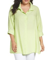 plus size women's foxcroft linen chambray tunic, size 16w - green