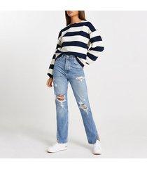 river island womens navy wide stripe textured sweatshirt