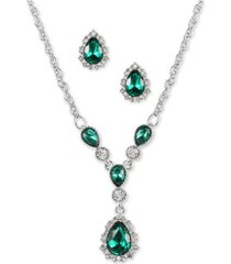 "charter club silver-tone green stone teardrop earrings & pendant necklace, 17"" + 2"" extender, created for macy's"