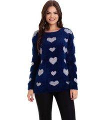 suéter kinara pelinho coração feminino