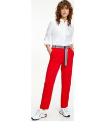 tommy hilfiger women's recycled crepe belted ankle pant primary red - 12