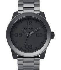 nixon the corporal bracelet watch, 48mm in matte black/matte gunmetal at nordstrom