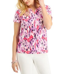 karen scott abstract paint split-neck top, created for macy's