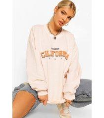 california slogan oversized washed sweatshirt, ecru