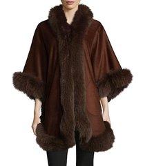 premium full dyed fox fur perimeter cape