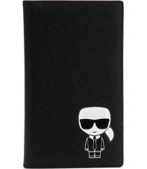 karl lagerfeld k/ikonik travel wallet - black