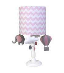 abajur madeira elefante balão quarto bebê infantil potinho de mel rosa