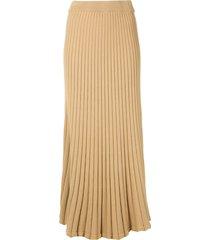 anna quan lulu ribbed midi skirt - brown
