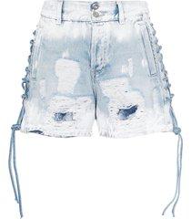 faith connexion lace-up distressed denim shorts - blue
