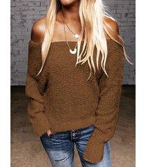 suéter de manga larga de piel sintética con hombros descubiertos