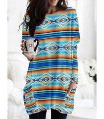 camicetta vintage da donna con scollo a manica lunga con stampa a righe etniche