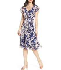 women's eliza j floral print v-neck clip dot dress
