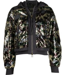 mr & mrs italy x audrey tritto sequined bomber jacket - grey