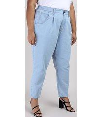 calça jeans plus size baggy cintura alta azul claro