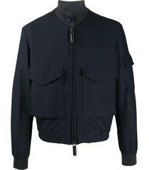 giorgio armani high-collar logo bomber jacket - blue